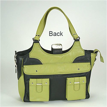 Lime Green and Black Paris Diaper and Laptop Bag
