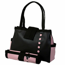 Black and Pink Bomber Diaper Tote with Changing Pad