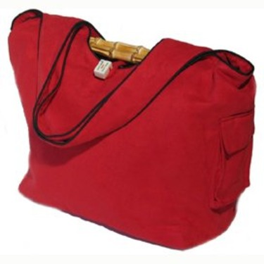 Faux Suede Diaper Bag in Red