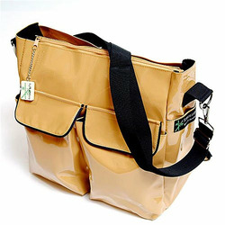 Camel Vinyl Stroller Tote Messenger Bag