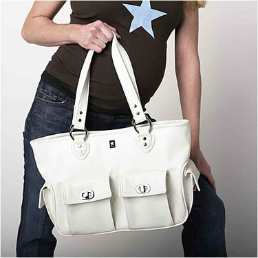Cargo Diaper Bag in White