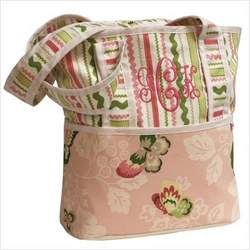 Tote Diaper Bag in Butterflies Personalize: Yes, Personalization: Embroidered - One Word