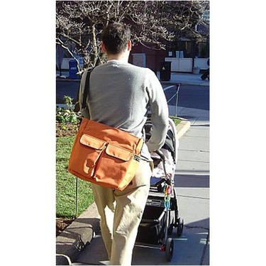 Chocolate Brown Canvas Stroller Tote Messenger Bag