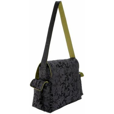 OiOi Black Floral Jacquard Messenger Diaper Bag