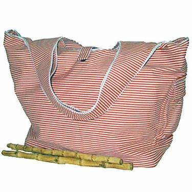 Striped Tangerine Cotton Twill Diaper Bag