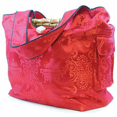 Asian Brocade Diaper Bag in Red
