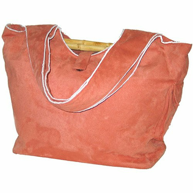 Faux Suede Diaper Bag in Tangerine