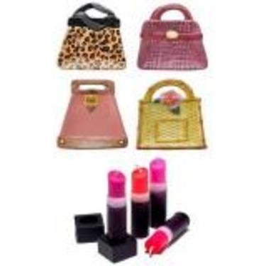 Girlfriend Gift Set - Lipstick Candles & Handbag Plates