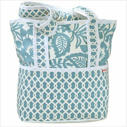 Tote Diaper Bag in Totally Turquoise Personalize: Yes, Personalization: Embroidered - One Word