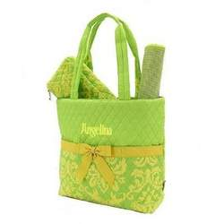 Belvah Quilted Paisley Lemon and Lime Twist Monogrammed Diaper Tote and Changing Pad