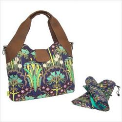 Amy Butler AB107-Fuchsia Tree Navy Wildflower Diaper Bag in Fuchsia Tree Navy