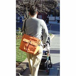 Orange Canvas Stroller Tote Messenger Bag