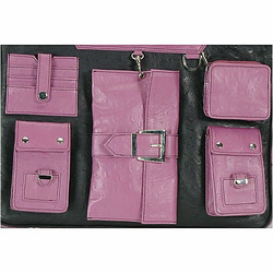 Raspberry and Black Paris Diaper and Laptop Bag