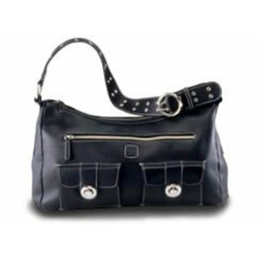 Black Luxe Leather Diaper Bag