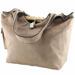 Faux Suede Diaper Bag in Tan