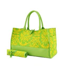 Damask Large Lemon Twist Diaper Tote and Matching Changing Pad