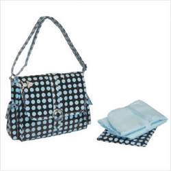 Kalencom 0-88161-23311-6 Heavenly Dots Midi Coated Diaper Bag in Chocolate and Blue