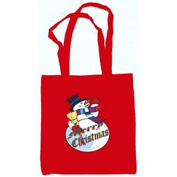 Snowman Merry Christmas Tote Bag Red