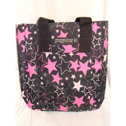 Jansport Tote Bag Black with Big Pink Stars