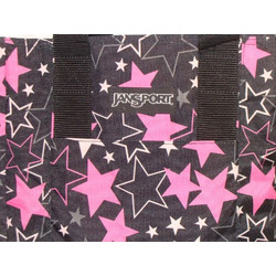 Jansport Tote Bag Black with Big Pink Stars