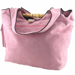 Faux Suede Diaper Bag in Pink