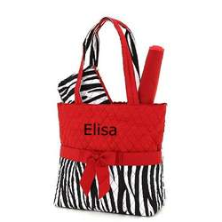 Belvah Red and Zebra Print Monogrammed 3pc Diaper Tote