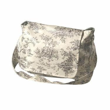 Black and White Toile Shoulder Diaper Bag