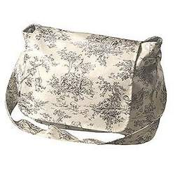 Black and White Toile Shoulder Diaper Bag