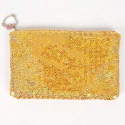 Hello Kitty Sequin Makeup Bag Tote Purse Yellow