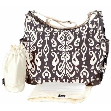 OiOi Ikat Tapestry Hobo Diaper Bag (Chocolate)