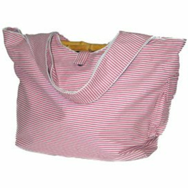 Striped Rosy Pink Cotton Twill Diaper Bag