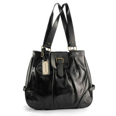 timi & leslie Ruby Leather Convertible Baby Bag - Black