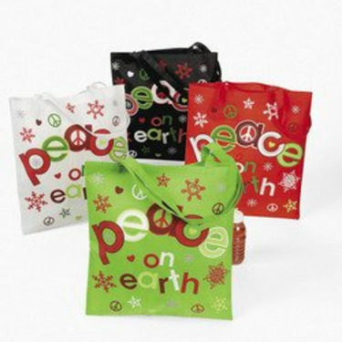 """Large """"Peace On Earth"""" Totes Bags (Receive 12 Per Order)"""