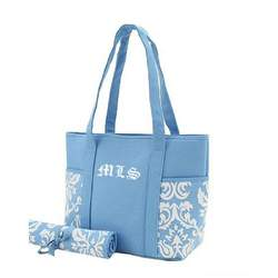 Belvah Damask Canvas End Pocket Monogrammed Light Blue/white Diaper Bag