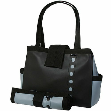 Black and Slate Blue Bomber Diaper Tote with Changing Pad