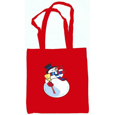 Snowman Tote Bag Red