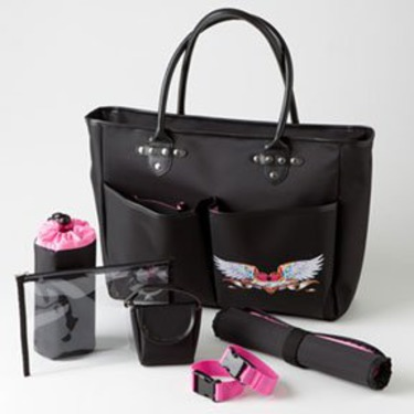 Rock N Moms Chic Jett's Bebe Mi Amour Black and Hot Pink Designer Tote Diaper Bag - First Mothers Day Gift Idea for New Moms
