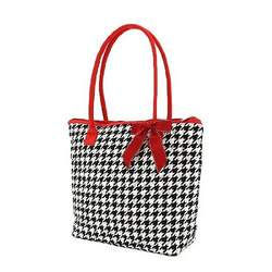 Belvah Houndstooth Red and Black Baby Diaper Tote