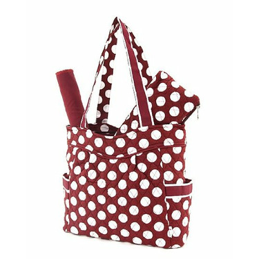 Belvah Quilted Large Maroon and White Polka Dot Diaper Tote Bag with End Pockets