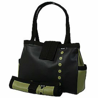 Black and Avocado Bomber Diaper Tote with Changing Pad