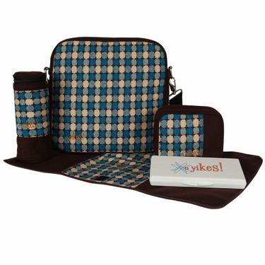 O Yikes Square Diaper Bag - Turquoise/ Chocolate