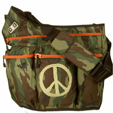 Diaper Dude Messenger Diaper Bag in Camouflage - Peace Sign
