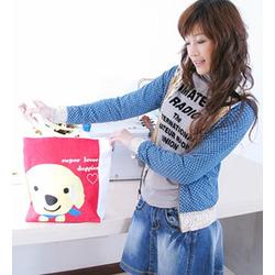 Super Lover Doggies Shoulder Tote Canvas Bag Red S1