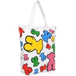 Super Lover Rainbow Bear Shoulder Canvas Bag White S9