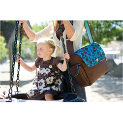 Fleurville Re-Run Messenger Diaper Bag in Geobot Chocolate Teal