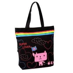 Super Lover Rainbow Shoulder Canvas Bag Black S10