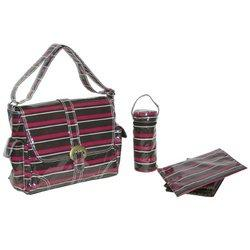 Laminated Buckle Bag - Canal Street Stripes Burgundy