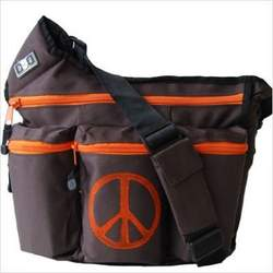 Diaper Dude 900P Brown Peace Sign Diaper Bag