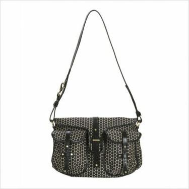 Mia Bossi MB500 Reese Messenger Diaper Bag in Black Bean