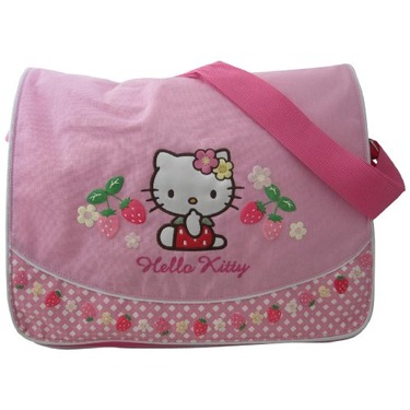 Hello Kitty with Front Flap, Strawberries/Flowers